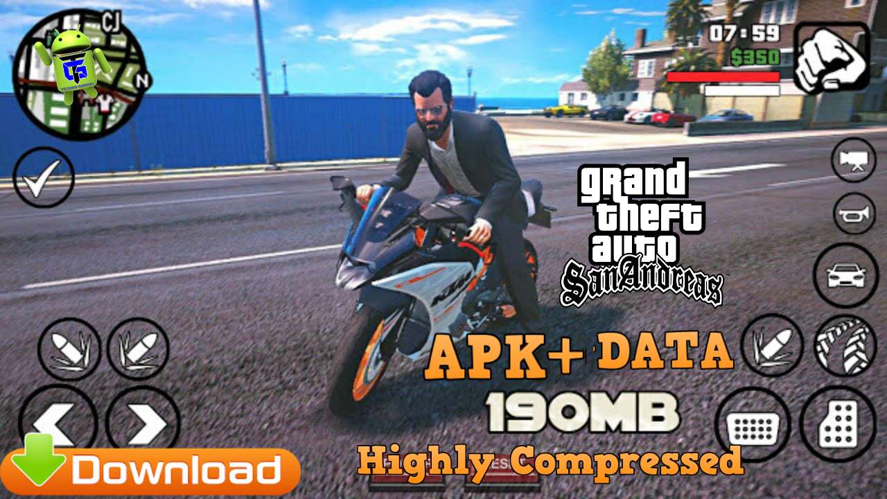 GTA San Andreas APK+Data 190MB Highly Compressed Download